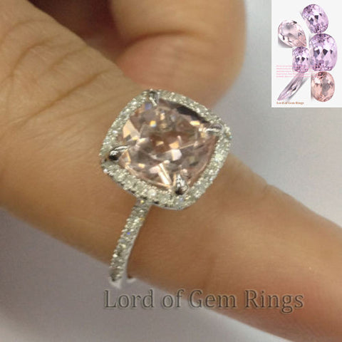 Cushion Morganite Engagement Ring Pave Diamond Wedding 14K White Gold 8mm - Lord of Gem Rings - 1