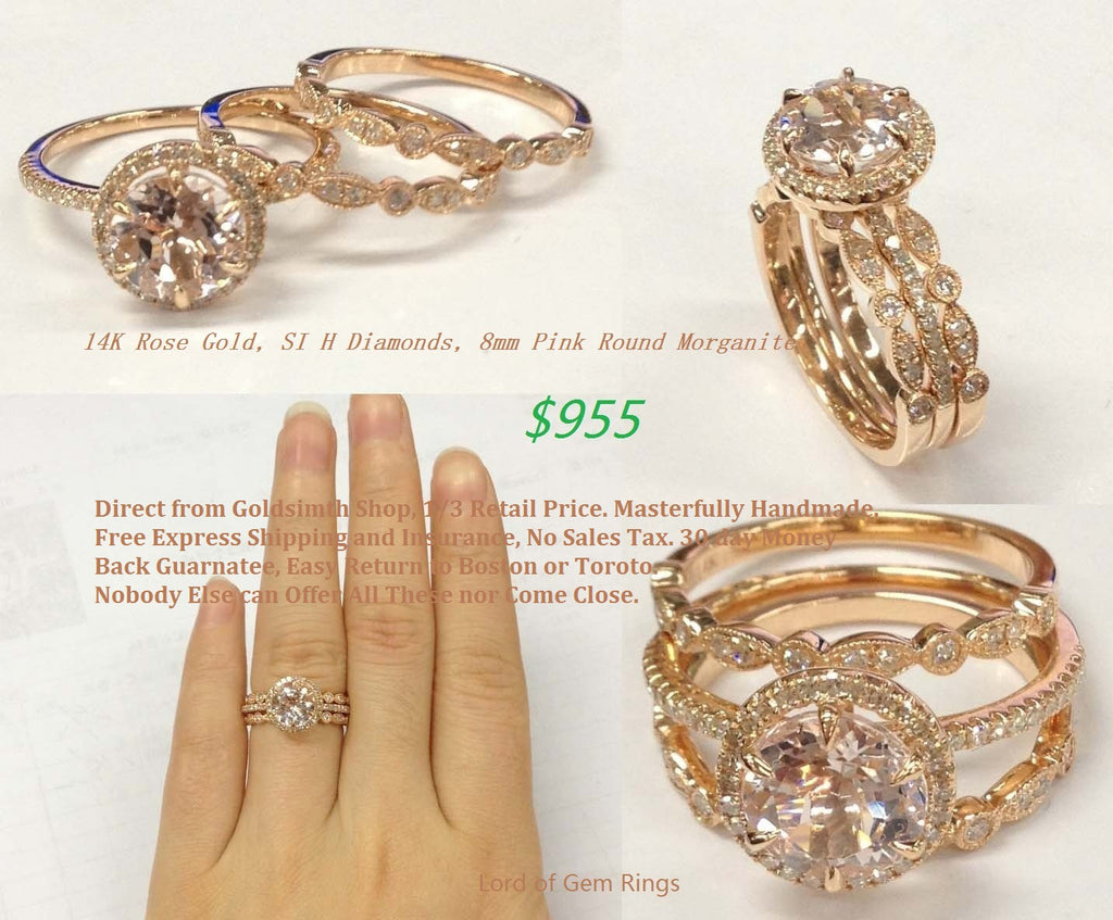 Round Morganite Engagement Ring Trio Sets Pave Diamond Wedding 14K Rose Gold 8mm Vintage Style - Lord of Gem Rings - 1