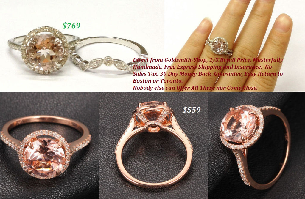 Ready to Ship - Round Morganite Engagement Ring Pave Diamond Wedding 14K Rose Gold 8mm - Lord of Gem Rings - 1
