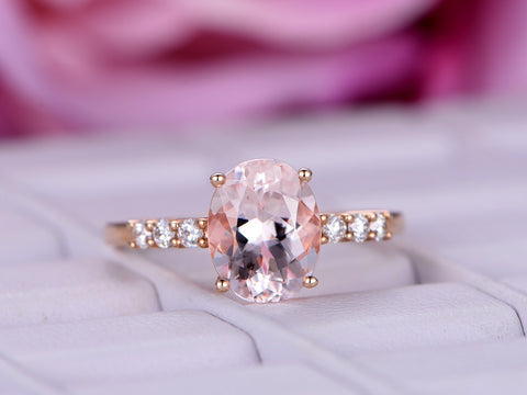 Oval Morganite Engagement Ring Moissanite Accent 14K Rose Gold 7x9mm