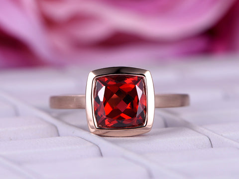 Cushion Garnet Engagement Ring 14K Rose Gold 8mm