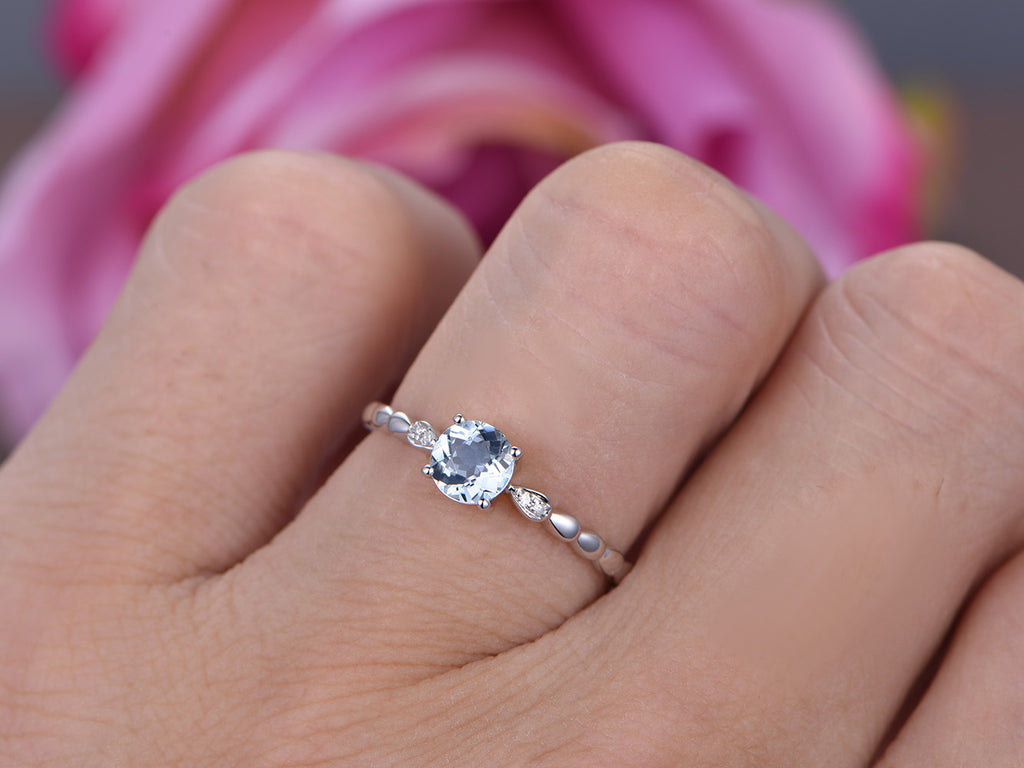 $315 Round Aquamarine Engagement Ring Pave Diamond Wedding 14K White ...