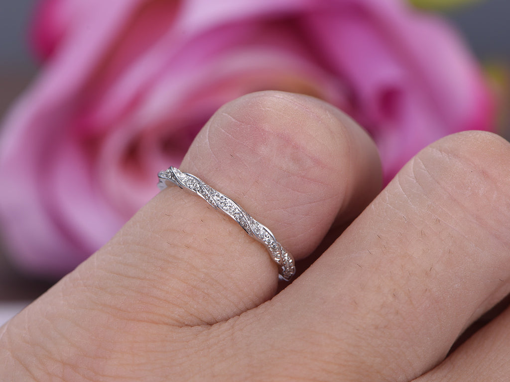 $368 Diamond Wedding Band Eternity Anniversary Ring 14K White Gold ...