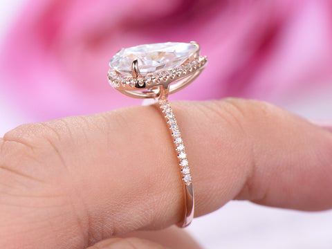 Pear Moissanite Engagement Ring Pave Diamond Wedding 14K Rose Gold 8x12mm