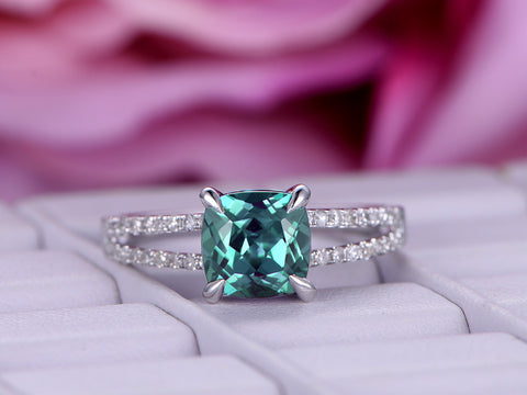 Cushion Alexandrite Engagement Ring Pave Diamond 14K White Gold 7mm