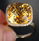 Cushion Citrine Engagement Ring Pave Diamond Wedding 14k yellow gold - Lord of Gem Rings - 2