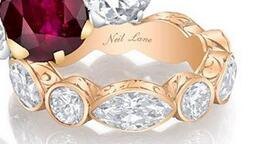 Reserved for Andile Marquise/Round White Topaz Wedding Ring Full Eternity 14K Rose Gold