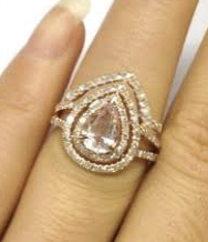 Reserved for lubricationequip Custom  Matching band for Pear Morganite Engagement Ring