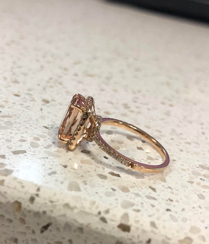 Reserved for Brianna Refurbish  Morganite Ring 14K Rose Gold