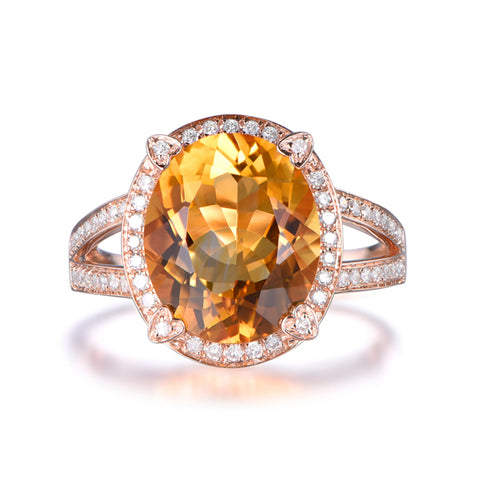 7ct Oval Citrine Engagement Ring Diamond Split Shank 14K Gold 10x12mm