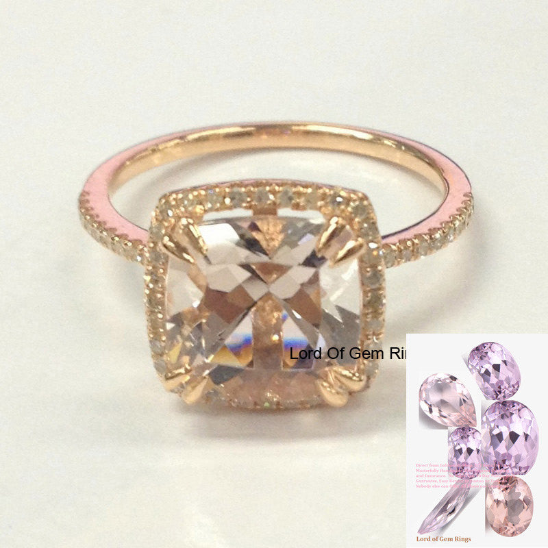 Reserved for Justyna  Cushion Morganite Engagement Ring Pave VS Diamond Wedding 14K Yellow Gold - Lord of Gem Rings - 1