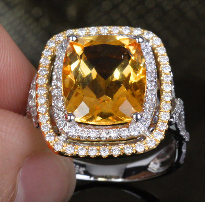 Reserved for ITU, Cushion Citrine Engagement Ring Pave Diamond Wedding 14K Yellow Gold - Lord of Gem Rings - 1