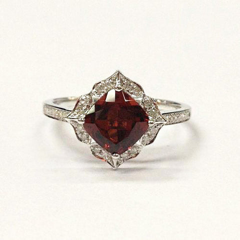 Cushion Red Garnet Engagement Ring Pave Diamond Wedding 14K White Gold 7mm  Art Deco