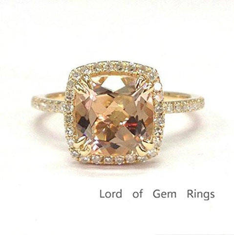 Cushion Morganite Engagement Ring Pave Diamond Halo 14K Yellow Gold,9mm,Double Prongs - Lord of Gem Rings - 1