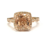 Cushion Morganite Engagement Ring Pave Diamond Wedding 14K Rose Gold 8mm, Art Deco Antique - Lord of Gem Rings - 1