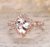 Cushion Morganite Engagement Cathedral Ring Diamond Wedding 14K Rose Gold 8mm Floral Halo - Lord of Gem Rings - 1