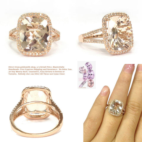 Reserved for Vin Cushion Morganite Ring Pave Diamond Split Shank 14K Rose Gold 10x14mm