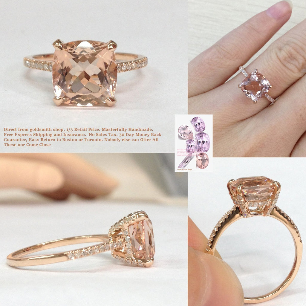 Reserved for Chris  Pave Diamond Semi Mount Ring 14K Rose Gold 8x10mm Cushion