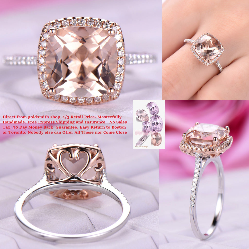 Custom Cushion Morganite Engagement Ring Cathedral 14K Two Tone Gold ...