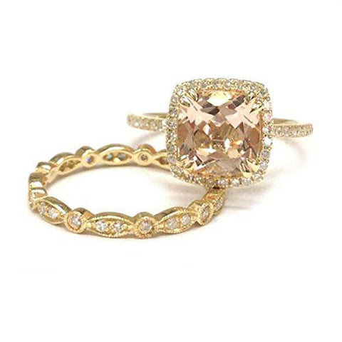 Cushion Morganite Engagement Ring Sets Pave  Diamond Wedding 14K Yellow Gold,8mm,Art Deco Band - Lord of Gem Rings - 1