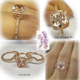 Cushion Morganite Engagement Ring Trio Sets Curved Diamond Wedding bands 14K Rose Gold 8mm
