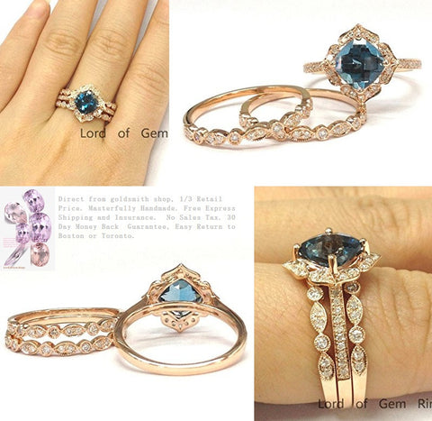1028 Cushion London Blue Topaz Ring Trio Sets Art Deco Diamond