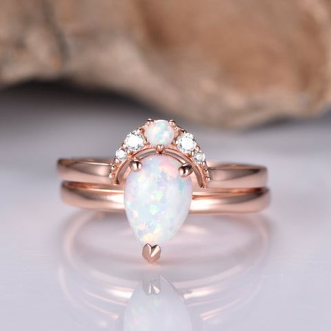 Pear Opal Wedding Sets Moissanite Crescent Band 14K Rose Gold 6x8mm