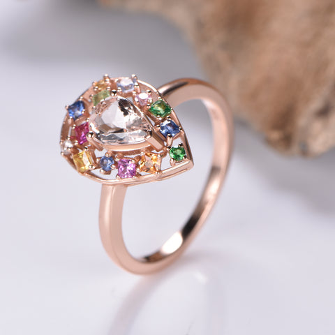 Pear morganite Ring Sapphire Floral Wreath Halo 14K Gold