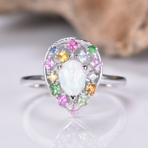 Pear Opal Ring Sapphire Floral Wreath Halo 14K Gold
