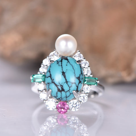 Oval Turquoise Cathedral Ring 14K White Gold Pearl/Moissanite/Tourmaline Art Nouveau 10x12mm