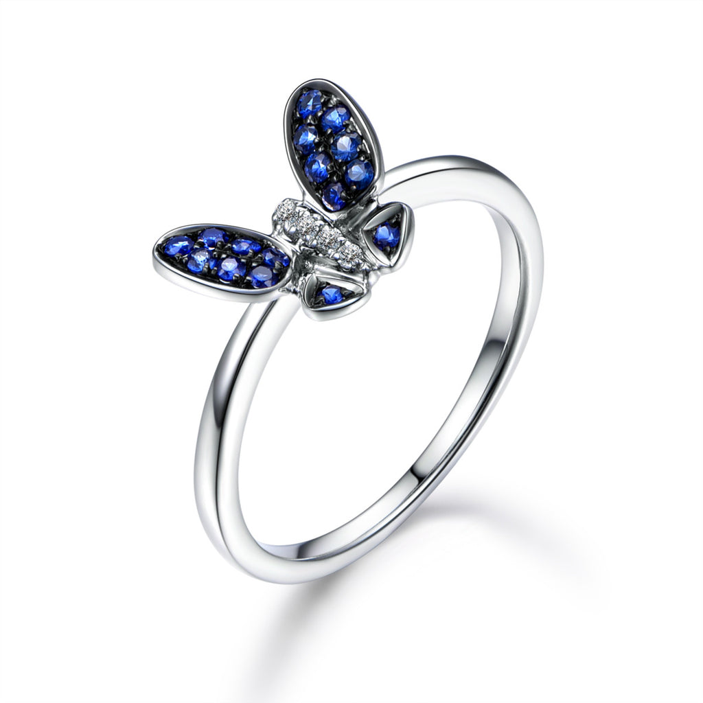Sapphire / Diamond Engagement Ring 14K White Gold, Butterfly - Lord of Gem Rings - 1