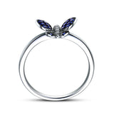 Sapphire / Diamond Engagement Ring 14K White Gold, Butterfly - Lord of Gem Rings - 2