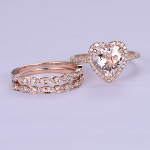Heart Morganite Engagement Ring Trio Bridal Sets Pave Diamond Wedding 14K Rose Gold 9mm - Lord of Gem Rings - 2