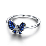 Sapphire / Diamond Engagement Ring 14K White Gold, Butterfly - Lord of Gem Rings - 3