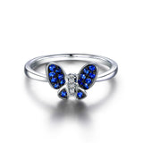 Sapphire / Diamond Engagement Ring 14K White Gold, Butterfly - Lord of Gem Rings - 4