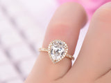 Pear Moissanite Engagement Ring Pave Diamond 14K Yellow Gold 7x9mm