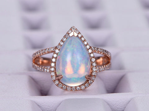 Pear Africa Opal Engagement Ring Pave Diamond Wedding 14K Rose Gold 8x12mm