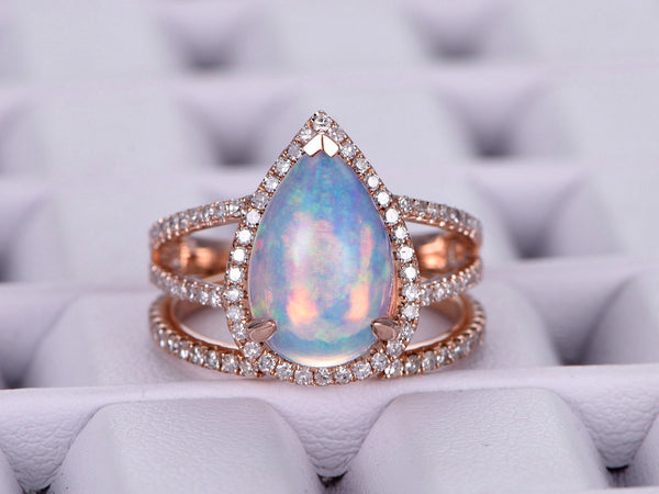 1 155 Pear Africa Opal Engagement Ring Sets Pave Diamond