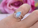 Pear Africa Opal Wedding Ring Sets Open-End Diamond Band 14K Rose Gold 8x12mm