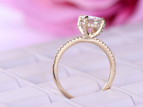 Reserved for AAA Diamond Semi Mount Ring Under Halo 14K Gold 7mm