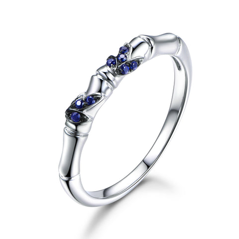 Sapphire Wedding Band Anniversary Ring 14K White Gold - Lord of Gem Rings - 1