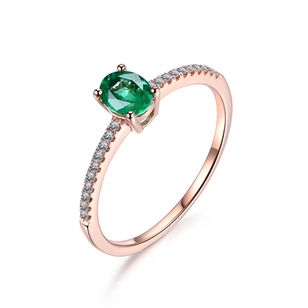 Oval Green Tsavorite Engagement Ring Pave Diamond Wedding 14K Rose Gold 4x5mm - Lord of Gem Rings - 1