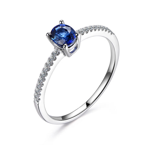 Oval Sapphire Engagement Ring Pave Diamond Wedding 14K White Gold 4x5mm - Lord of Gem Rings - 1