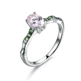 Oval Morganite Engagement Ring Tsavorite Wedding 14K White Gold 6x8mm - Lord of Gem Rings - 1