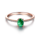 Oval Green Tsavorite Engagement Ring Pave Diamond Wedding 14K Rose Gold 4x5mm - Lord of Gem Rings - 3