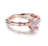 Oval Morganite Engagement Ring 14K Rose Gold 6x8mm, solitaire