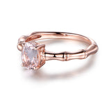 Oval Morganite Engagement Ring 14K Rose Gold 6x8mm, solitaire - Lord of Gem Rings - 1