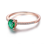 Oval Green Tsavorite Engagement Ring Pave Diamond Wedding 14K Rose Gold 4x5mm - Lord of Gem Rings - 4
