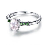 Oval Morganite Engagement Ring Tsavorite Wedding 14K White Gold 6x8mm - Lord of Gem Rings - 3