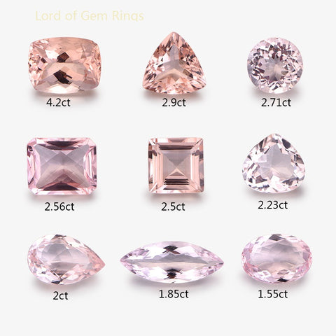 Morganite loose stones, for custom  Engagement or Wedding Ring with accent diamonds or gemstones - Lord of Gem Rings - 2